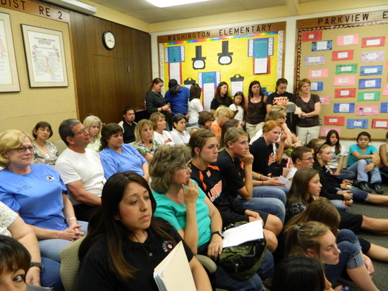 All ages turn out for School Board meeting.