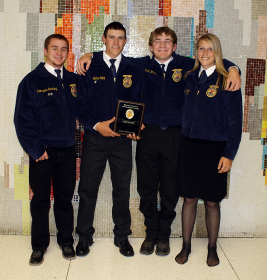 "Lamar FFA Chapter's 2011 ""Gold"" State Horse Judging Team from left to right: Remington Stocking, Bailey Spitz, Parker Wurst, and Shay Spitz."