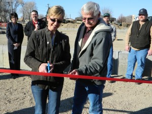 Tracy and Jess Kalma Cutting the Ribbon Earlier this Winter