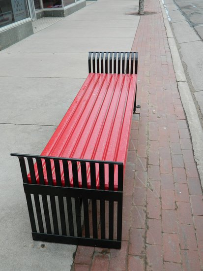 Benches are Straightened and Painted