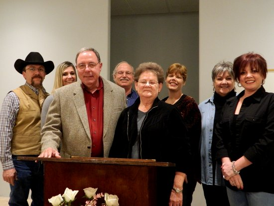Pictured in the back row: Axel Thurner – Past President, Lamar Chamber of Commerce, Holly Burton – Honker, Vincent Gearhart – President, Honkers, Gaila Austin – Honkers, Valerie Baldwin – Honkers, Lisa Thomas – Lamar Chamber of Commerce. Front Row: Pastor Douglas Sanford and his wife Linda Sanford. (Photo courtesy of Russ Baldwin)