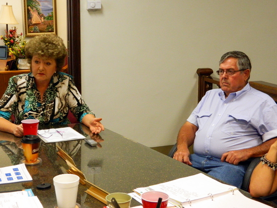 Jillane Hixson and Don Turner Confer with Commissioners on Drought Impact