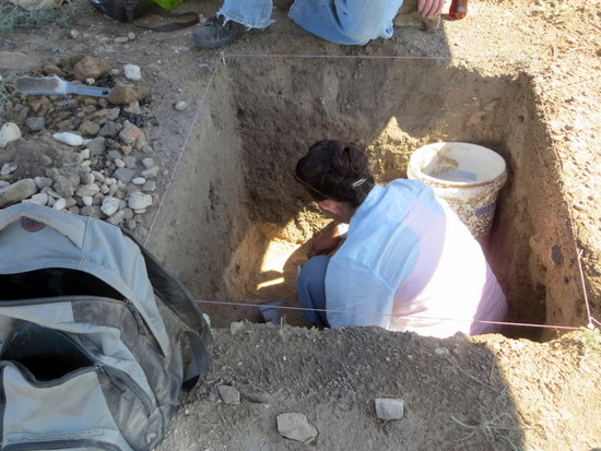 Student at Bent's New Fort Dig