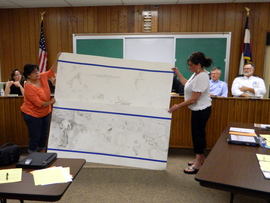 Rose Ann Yates and Shawna Hodge Display Mural Concept for Council