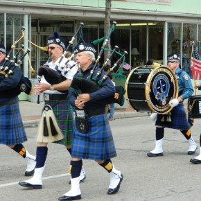 Commander Michael Haley and Bagpipe Procession