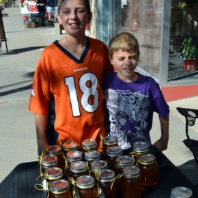 Jakob Beakley on Left, A 'Honey' of a Salesman for the Fall Festival