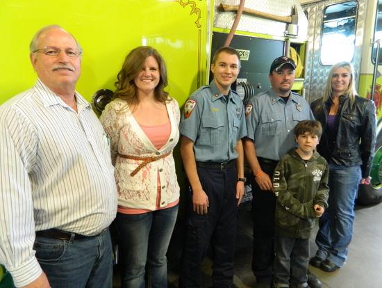 Kemp (Lamar Fire Department), Geoff Newman and son, Cody Newman (Lamar Fired Department) and Holly Burton (High Plains Community Health Services).  Photo by Russ Baldwin