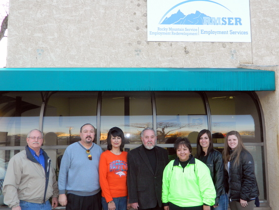 From Left to Right: Vincent Gearhart (Robinson Printing), Leon Ortega (RMSER State Workforce Director), Linda Pantoya (RMSER Field Representative), Gil Apodaca (RMSER Senior Field Representative), Gerry Jenkins (RMSER Field Representative), Holly Burton (High Plains Community Health Center), and Kristin Lubbers (The Prowers Journal).