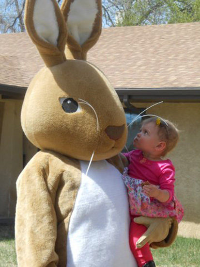 Easter Bunny with Young Fan at Juniper Village