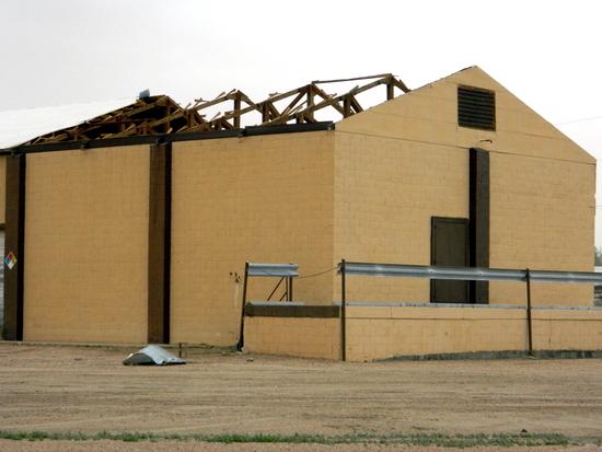 Wind Damage on Warehouse Roof