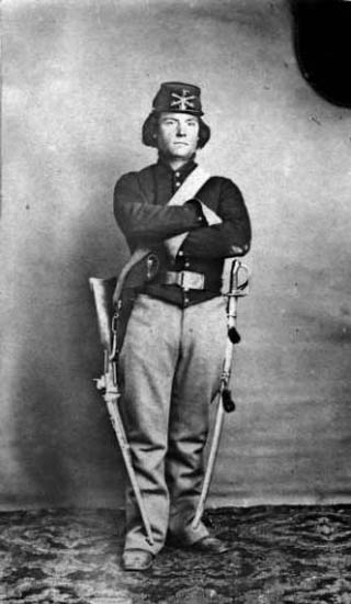 Private Joseph Aldrich served with the First Colorado Cavalry and died at the Sand Creek Massacre. Photo courtesy of Denver Public Library, Western History and Genealogy Collection Call Number Z-517