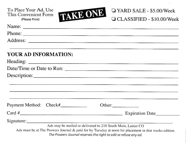 Yard Sale Ad Form
