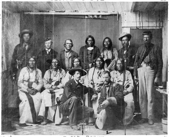 Cheyenne and Arapaho Chiefs at the Camp Weld Conference Image Courtesy of WikiMedia Commons