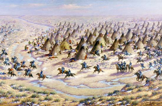 Robert Lindneaux portrays his concept of the Sand Creek Massacre. History Colorado #46619
