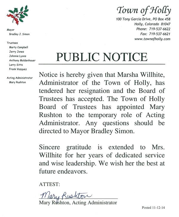 Wilhite Resigns