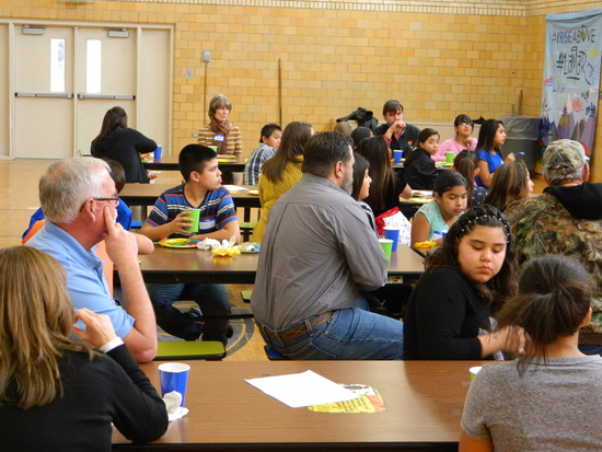 Students and Adults Exchanged Ideas During Lunch