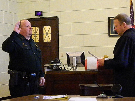 Sheriff Sam Zordell Receives His Oath of Office from Judge Brinkley
