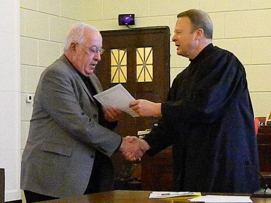Joe Giadone is Congratulated