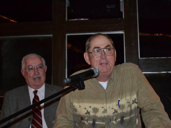 Doug Harbour with Joe Giadone, Award Presenter, in Background