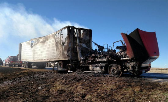 Hull of Burned Semi on HIghway 287 (courtesy photo)