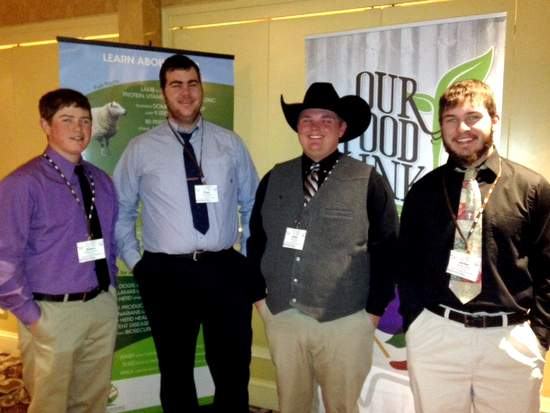 Left to Right: Keaton Buxton, Roger Unwin, Ashlin Stolz, and Jordan Jones stop for a picture between sessions at the National Young Farmers & Ranchers Leadership Conference.