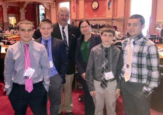 State Senator Crowder with Local Students at State House