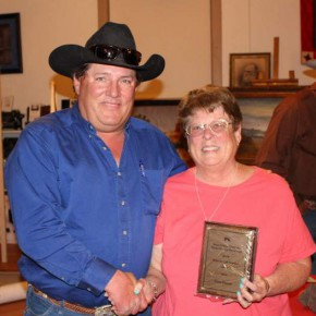 Hans Hasser of Lamar was selected as the Bent-Prowers Cattle & Horse Grower's Association Honorary Life Member recipient. Past winner Jo Ann McEndree presented the plaque to Hasser, the fourth generation in his family to receive the honor.