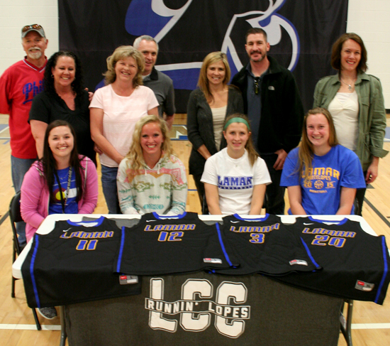 The new recruits pose for a quick photo with their parents after signing.  Front Row (left to right): Kaylan Miller, Emily Lambrecht, RJ Kuhn, and Brette Southworth.  Back Row: Pete and Christi Miller, Buddy and Robin Lambrecht, Sarah and Bill Kuhn, and Margaret Southworth. Not Pictured: Mike Southworth or Jamie Clawson and her parents.