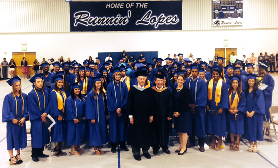 Presley Askew, John Marrin, and Jen Worth with the LCC graduating class of 2015.