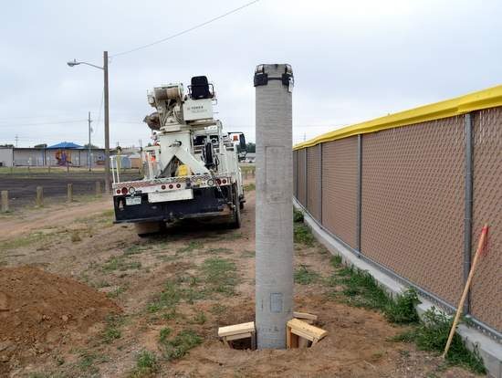 Concrete Light Pole Anchor at Sportsplex