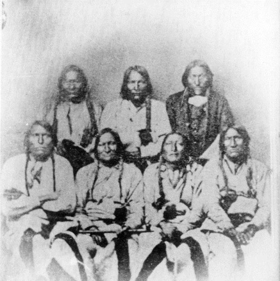 Courtesy Photo - Picture of some of the Cheyenne and Arapaho Chiefs taken on September 28, 1864 at Camp Weld (Denver). Chief Lone Bear (also known as One Eye) is seated on the far left.