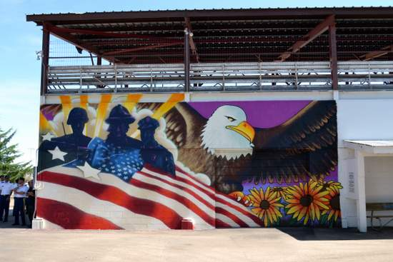 Patriotic Mural on Grandstand Wall