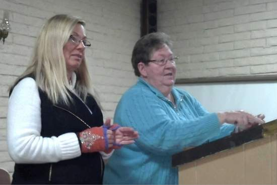 Bent-Prowers Cattle & Horse Growers Association President Pat Ptolemy of Swink, left, thanks Beverly Rave as she wraps up Q&A at an open forum Saturday, Jan. 9 in Lamar. The presentation, sponsored by the area cattlemen's group, focused on Colorado State Land Board lease changes.