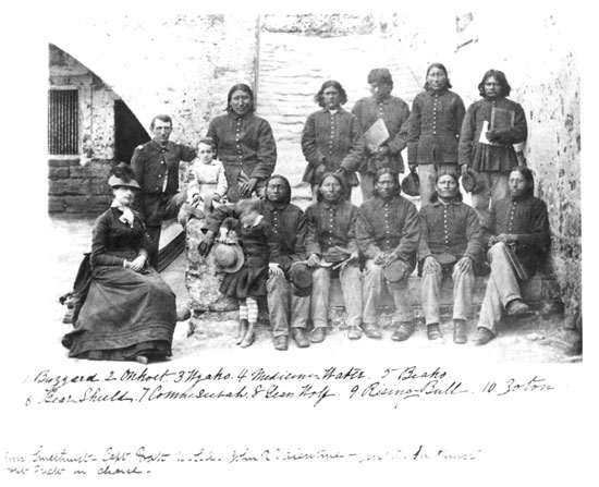 Cheyenne prisoners at Saint Augustine, Fort Marion, Florida, circa 1875.  Created by George Pierron, call number WA MSS S-1174. Photo courtesy: Beinecke Library, Yale University